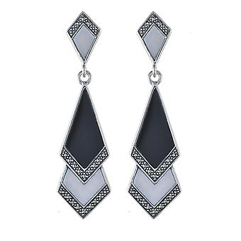 Art Deco Style Black Onyx, Mother of Pearl & Marcasite Fan Drop Earrings in 9ct Yellow Gold 214E615201925