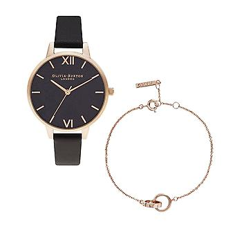 Olivia Burton Watches Obgset54 Black And Rose Gold Watch With The Classic Interlinks Chain Rose Gold Bracelet Gift Set