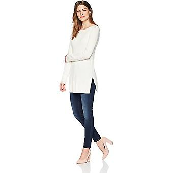 Lark & Ro Women's Boatneck Tunic Sweater, Ivory,Large