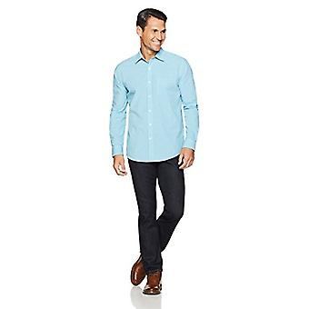Essentials Men's Regular-Fit Långärmad Casual Poplin Shirt, Aqua Min...