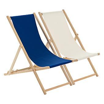 Traditional Adjustable Beach Garden Deck Chairs - Navy / Cream