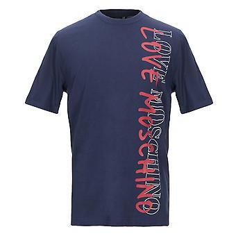 Love Moschino camiseta en azul marino de gran impresión