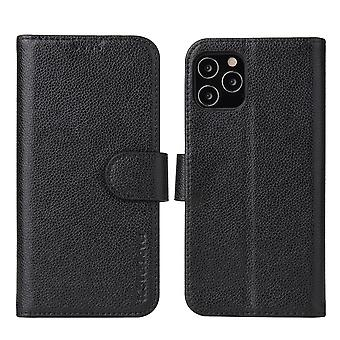 Voor iPhone 12 mini case iCoverLover Black Genuine Cow Leather Wallet Folio Case