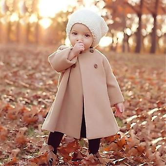 Winter Fashion Woolen Coat Autumn Jacket- Warm Long Outerwear Windproof Newborn