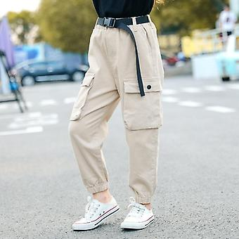 High Waist Cargo Pants For Kids Girls Cool Trousers Pocket Loose Cotton Sport Running Pants