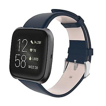 For Fitbit Versa 2/Versa/Versa Lite Leather Band Replacement Wristband Strap[Blå]