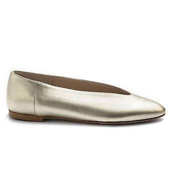 Pantofi balerina din piele de aur