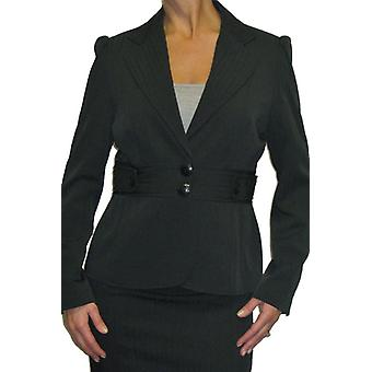 Women's Formal Slim Fit Blazer Ladies Smart Work Shadow Stripe Lined Long Sleeve Tailored Suit Jacket Black 10-16