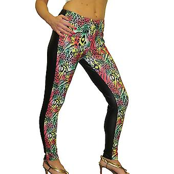 Women's Shiny Wet Look Disco Pants Elasticated Animal Print Stretch