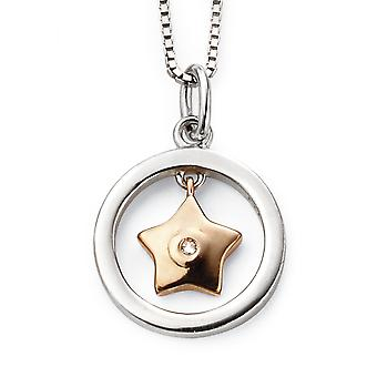 D for Diamond Childrens 925 SIlver & Rose Gold Plating Diamond Star Necklace of Length 35.5cm