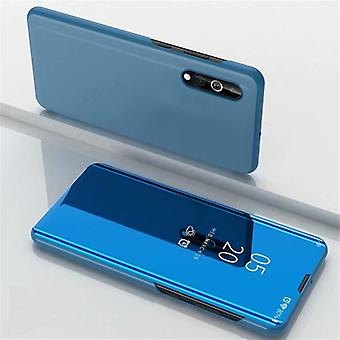 Pour Xiaomi Mi 9 Lite Electroplating Mirror Horizontal Flip Leather Case, avec Holder (Blue)