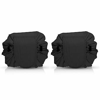 Envie Travel Cosmetic Drawstring Polyester Bag Pouch, Pack of 2,  Black