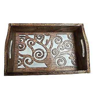 Wooden Carved Serving Tray With Handles Oak Tree