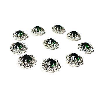 10 Small Round Diamante Embellishments With Large Emerald Green center stone Rhinestone 12mm