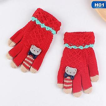 Winter Kids Handschoenen Warm Gebreid Volle Vinger Dikke Wanten met Bear Bow Cartoon