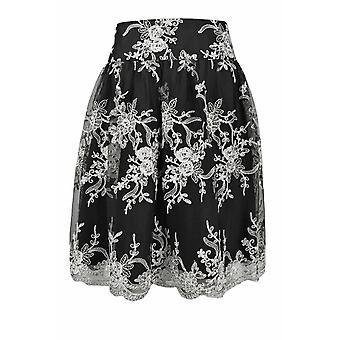 Mid rise midja blommig mönster mesh kjol