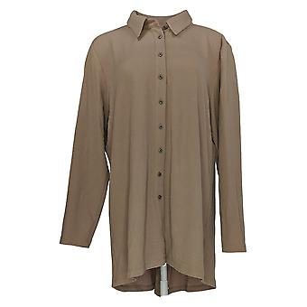 Attitudes by Renee Women's Top Button Front Textured Tunic Brown A372053