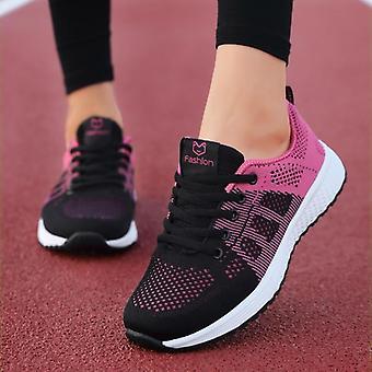 المرأة Flats أزياء عارضة الدانتيل متابعة أحذية رياضية شبكة تنفس