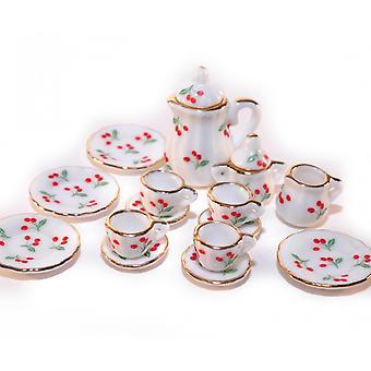 בית הבובות צ'רי תה קנקן קפה & ספלים להגדיר מיניאטורי מטבח אביזר אוכל