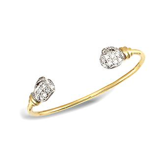 Jewelco London Baby Solid 9ct Yellow and White Gold White Round Brilliant Cubic Zirconia Boxing Glove Torque Bangle Bracelet