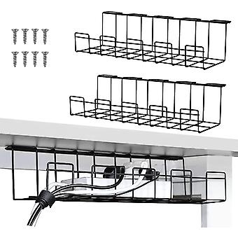 2 Packs Cable Management Tray, 40cm Under Desk Cable Organizer for Wire Management