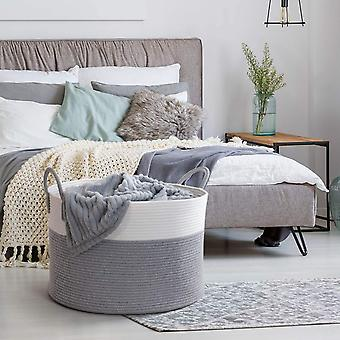 INDRESSME XXXLarge Woven Rope Basket 53  35 cm Grey Laundry Basket with Long Handles Blanket