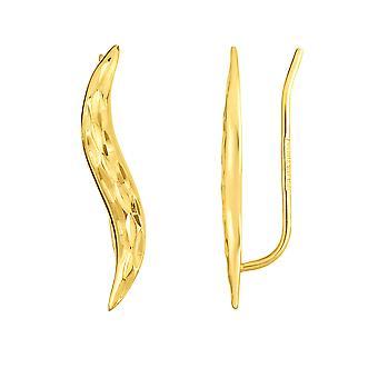 14K geel goud diamant geslepen blad klimmer oorbellen