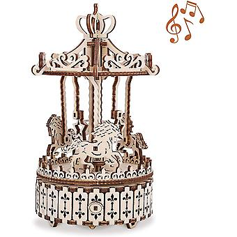 GuDoQi Wooden Model Kits to Build, Mechanical Carousel with Music, DIY Assembly 3D Wooden Puzzle
