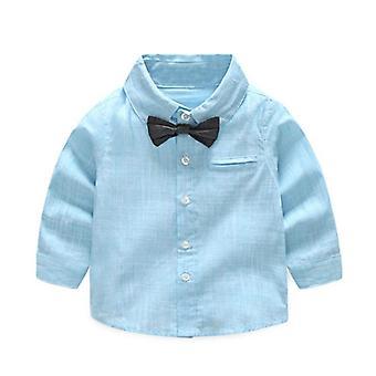 Summer Baby Shirt, Formele Katoenen Vlinderdas Blouse, Gestreepte Lange Mouw Casual Top