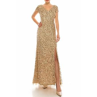 Champagne Gold Sequined Gown With Front Slit