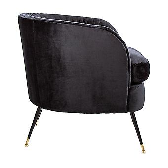 Charles Bentley Milan Velvet Accent Chair Black Tub Armchair Pleat Velvet Industrial Legs Gold