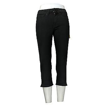 NYDJ Women's Pants 00 Cool Embrace Skinny Crop W/ Side Slits Black A377694