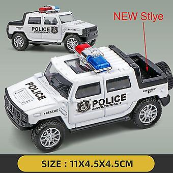 Simulation Kids Police Toy Car Model Pull Back Alloy Diecast Off-road Vehicles