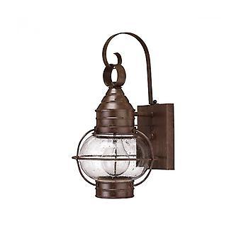 Lámpara De Pared Cape Cod, Bronce Y Vidrio, Pequeña