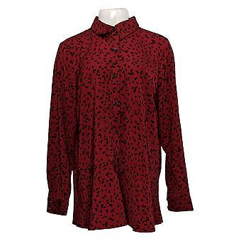 Susan Graver Women's Top Printed Stretch Peachskin Peplum Big Shirt A369140