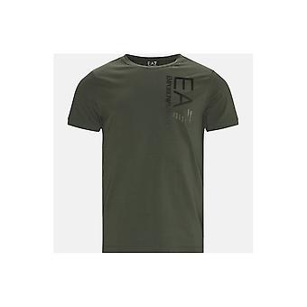 Emporio Armani EA7 Puuvilla pystysuora Logo Khaki T-paita