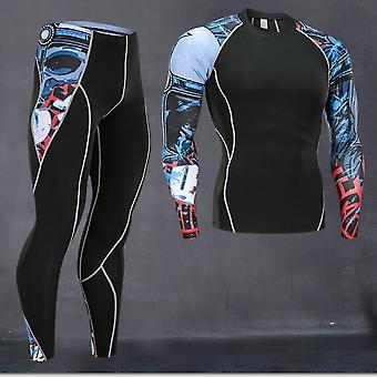 Män Löparskjorta Träningsbyxor Termiska Underkläder (set 2)