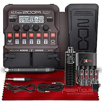 Zooma a1x fyra akustiska instrument multieffekt processor med uttryck pedal + mxl dx-2 dual-capsule gitarrmikrofon, xpix aa batterier ps13319