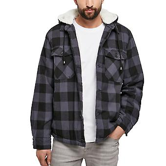 Brandit - Hooded flannel jacket black / charcoal