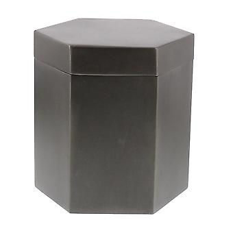 Burnished Black Hexagonal Metal Covered Canister