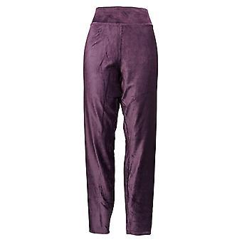 Cuddl Duds Leggings Corduroy Stretch Pull On Wide Waistband Purple A384372