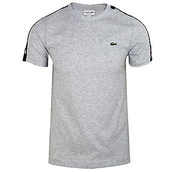 Lacoste men's grey taped t-shirt