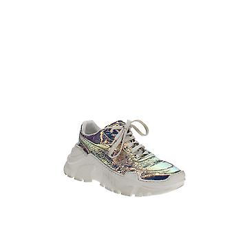 Joshua Sanders   Leather & Holographic Foil Lace Up Sneakers