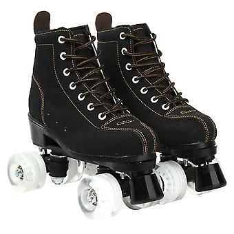 Roller Skates, Cowhide Flash Wheels Shoes, Double Line Skates