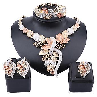 Afrikansk Dubai Guld Nigerianskt Kristallhalsband Ring Örhängen Ring Smycken Set