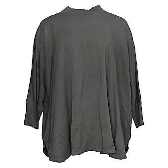 zuda Women's Poncho Mock Neck Pullover Grey A374942