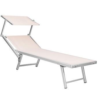 Solstol justerbar med soltak och hjul - Beige trädgårdsstol