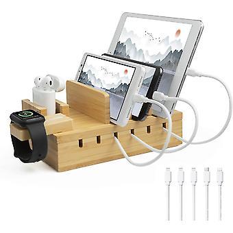 FengChun Ladestation Mehrere Geräte Bambus 5 Port USB Multi Ladestation Holz für Handy Tablet Uhr