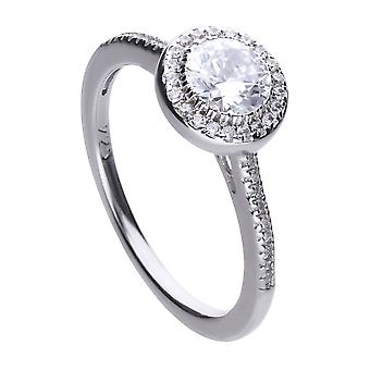 Diamonfire Womens 925 Sterling Silver Rhodium, Palladium &Platinum Plated Clear Cubic Zirconia Round Stone with Pave Set Surround Ring