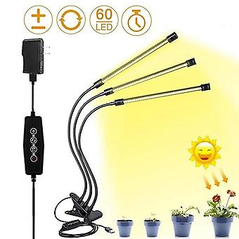 Usb With Timer Dimmable Full Spectrum 3 Head Bulb  Led Grow Light